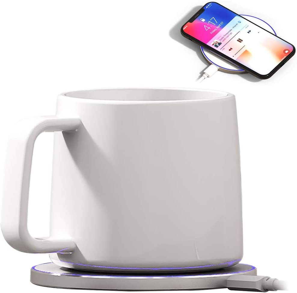 Bone China Mug Warmer, Coffee Mug Warmer with Wireless Charger 2 in 1 , Wireless Charging, Constant Temperature for Keeping Warm about 122 F 50 C capacity 200ml