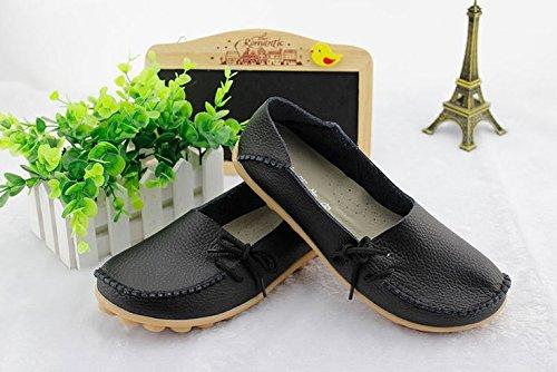 Frauen Driving Schuhe Rindsleder Casual Lace-Up Loafers Bootsschuhe Wohnungen Schwarz