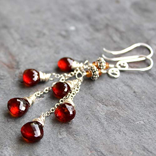Long Dangly Spessartite Garnet Earrings Sterling Silver