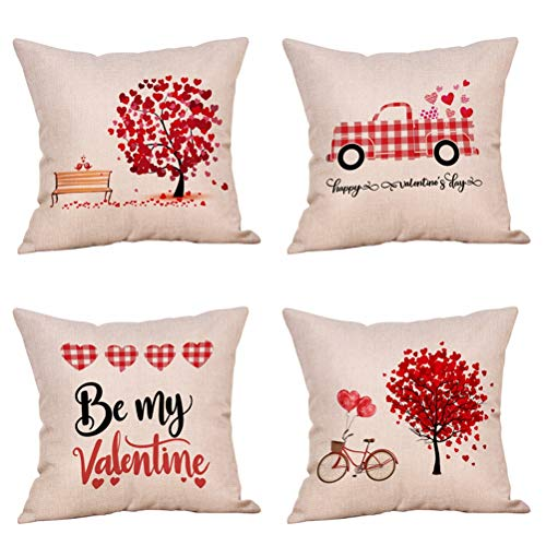 4 Pack Red Love Tree Throw Pillow Case Buffalo Plaids Red Car with Hearts Happy Valentine's Day Decorative Cushion Covers Cotton Linen 18x18 Inch Romantic Farmhouse Home Decor (by My - Pillow Heart Plaid