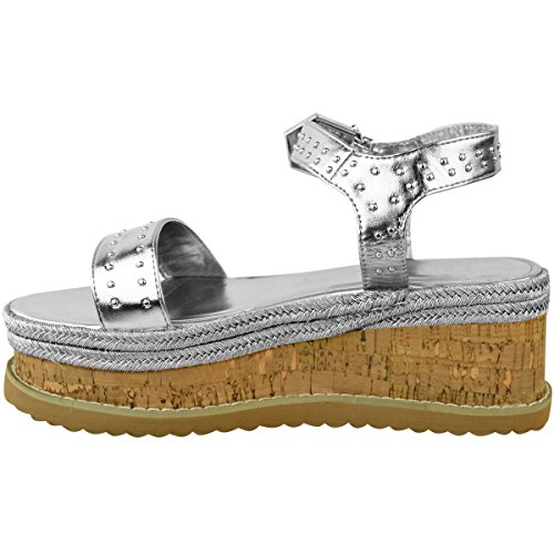 Stud Silver Fashion Size Summer Mid Womens Espadrilles Metallic Thirsty Shoes Sandals Flatform Wedge wEwTPCOqa