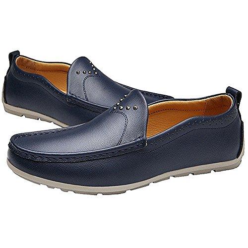 Lisianthus Mens Körning Avslappnad Slip På Läder Loafers Mörkblå