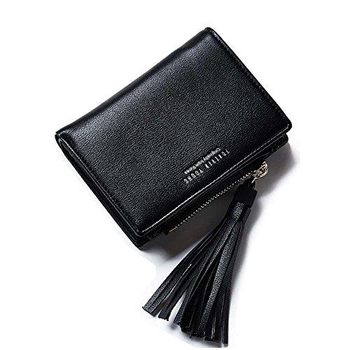Fency Womens Tassel Multi-Card Faux Leather Wallet Short Tri-fold Matte Purse - Micheal Kors Frames