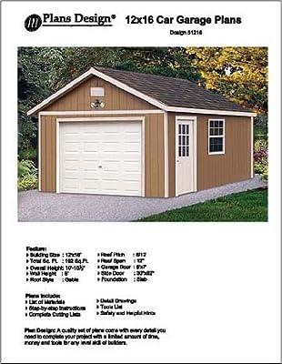 12' X 16' Car Garage Project Plans - Design #51216 from Plans Design