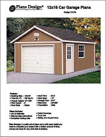 12' X 16' Car Garage Project Plans - Design #51216