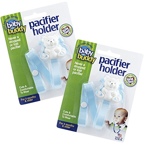 - Baby Buddy Unisex 2 Piece Pacifier Holder Clip, Light Blue, 4 Months and Up