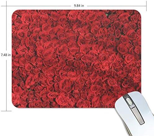 MONTOJ Gaming Mouse Pad Rood Rose Patroon Computer Toetsenbord Mouse Pad Waterbestendig Antislip Base Ideaal voor zowel Gaming en Werken