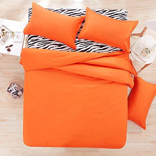 (Nova 4pcs Solid Candy Color Bed Sheet Set Cotton Material Double Color Blocking Design Twin Full Queen Size (Queen, Orange& Zebra Print))