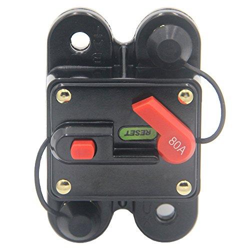 (ZOOKOTO 80Amp Circuit Breaker, Trolling Motor Auto Car Marine Boat Bike Stereo Audio Inline Fuse Inverter with Manual Reset 12V-24V DC)