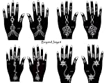 Tattoo Stencil Template Set of 8 Sheets Henna Designs Suitable for Hand Jaiya