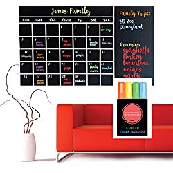 Wall Calendar Chalkboard Decal (NEW & IMPROVED, GUARANTEED TO STICK!) ~ 4 Color Markers & Eraser ~ XL Large 47x 28 ~ Monthly Calendar White board Planner ~ Keeps Family, School & Work Organized