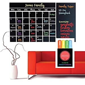 "Wall Calendar Chalkboard Decal ~ Guaranteed to stick! ~ 4 Color Markers & Eraser ~ Large 47""x 28"" ~ Monthly Calendar Whiteboard Planner ~ Keeps Family, School & Work Organized"