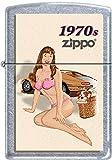 Zippo Windy Vintage Nose Art Pink Bikini Pinup 1970 Era Satin Chrome Lighter