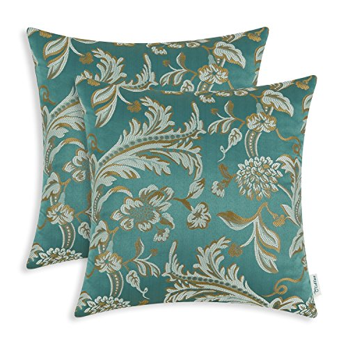 (CaliTime Pack of 2 Throw Pillow Covers Cases for Couch Sofa Home Decor Vintage Floral Leaves 18 X 18 Inches Teal)