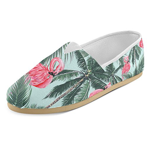Pink Canvas Mary Jane (InterestPrint Women's Loafers Classic Casual Canvas Slip On Fashion Shoes Sneakers Mary Jane Flat Size 10 Exotic Pink Flamingos with Tropical Palm Trees Leaves)