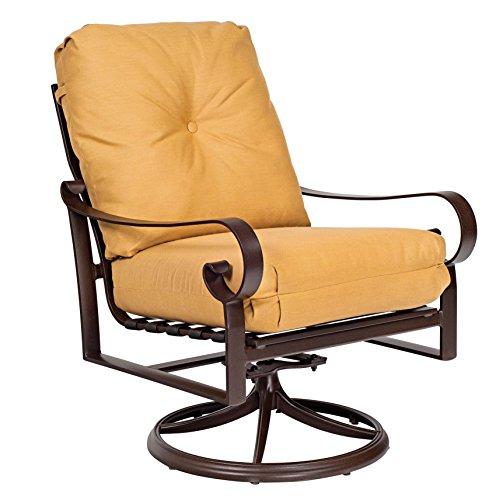 Woodard  Belden Cushion Swivel Rocking Lounge Chair, Hammered White, Volt (Sunbrella White Sand Cushion)