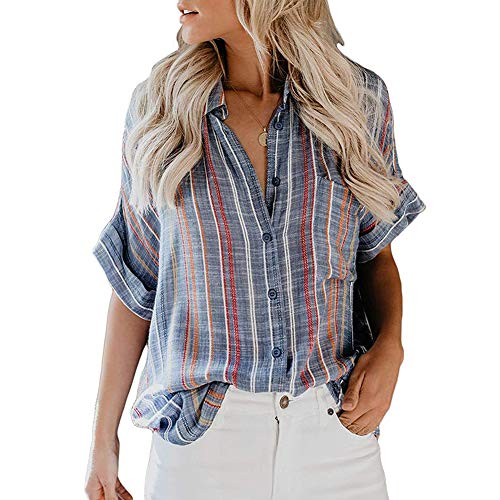 (Womens Colorblock V Neck Striped Cuffed Sleeve Button Down Collar Blouses Shirts Tops)