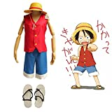 F&C Child's One Piece Monkey D Luffy Cosplay Costume + Hat + Shoes Full Set (120(115-125cm))