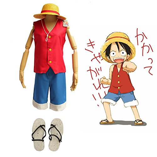 F&C Child's One Piece Monkey D Luffy Cosplay Costume + Hat + Shoes Full Set (Nami One Piece Costume)