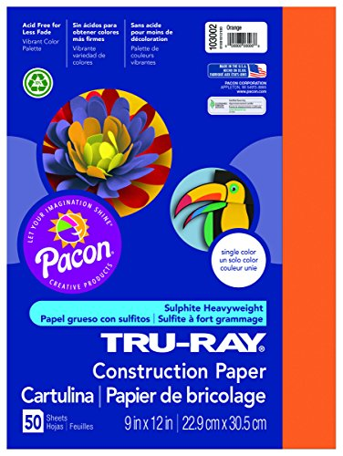 Pacon Tru-Ray Construction Paper, 9-Inches by 12-Inches, 50-Count,