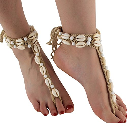 - Yeefant Boho Weave Rope Bead Anklet Sandal Beach Adjustable Shell Anklet With Beads Beach Jewelry for Women Mother Birthday Gift,Beige