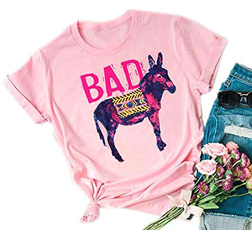 Bad Ass Donkey Short Sleeve Cut T Shirt Women's Letter Graphic Casual Tees Summer Funny Tops (Medium, Pink)