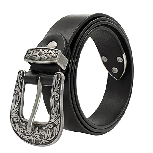 Design Genuine Leather (Ladies Western Design Genuine Leather Belt for Women with Vintage Metal Buckle Gift Box)
