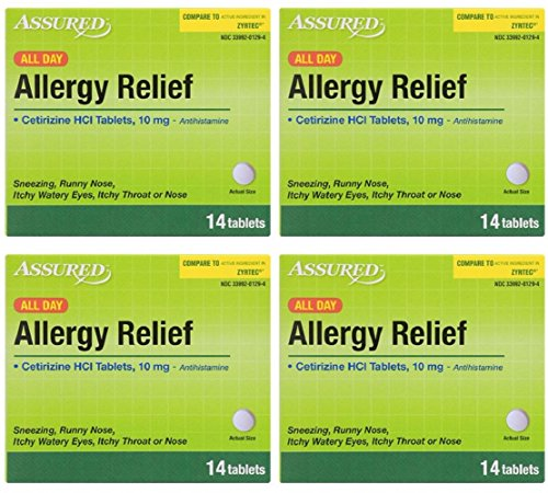 (Assured Allergy Medicine in Tablet, Caplet and Softgel Forms, Phenylephrine HCl, Acetaminophen, Diphenhydramine HCl 25 mg, Cetrizine HCl 10 mg, 4-Box Sets (All Day Allergy Relief))