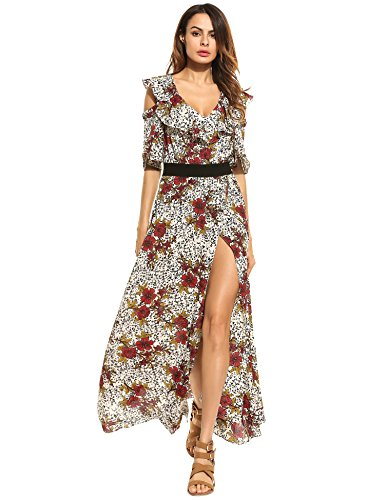 Zeagoo Women Dress Bohemian Cold Shoulder Floral Ruffle Print Flower Side High Split Maxi Dress