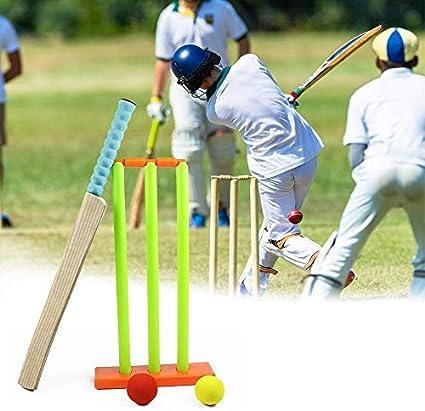 Childs First Wooden Cricket Bat Set Ball Stumps /& Bail Garden Outdoor New