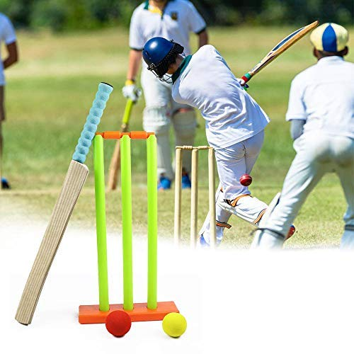 (Hamkaw Kids Cricket Set, Cricket Stumps Spring Base,Backyard Cricket Sets - Kwik Cricket -MBR Rubber Water Proof Contents Bat, Ball, Stumps, Bail.)