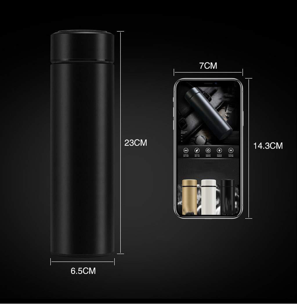Blanco Taza de Viaje con Doble Aislamiento Taza de Caf/é con Taza de Vac/ío de Acero Inoxidable Termo Wocute Taza de Termo con Pantalla T/áctil Inteligente 500L