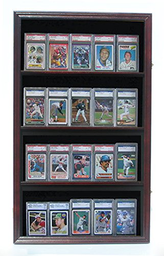 Mahogany Graded Psa Bvg And Sgc Sport Trading Cards Display Case Cabinet by Display Case