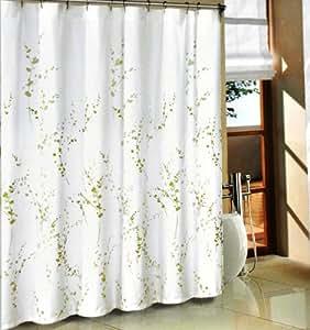 Amazon Com Tahari Green Sprigs Fabric Shower Curtain