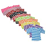 The New York Doll Collection Set of 10 Long Sleeve Striped Color T-Shirts for 18 Inch Dolls - Variety of 10 Colors