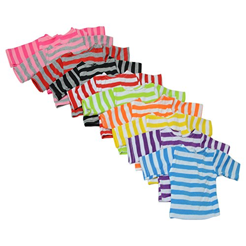 - The New York Doll Collection Set of 10 Long Sleeve Striped Color T-Shirts for 18 Inch Dolls - Variety of 10 Colors