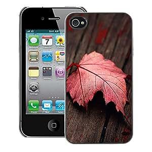 Snap-on Series Teléfono Carcasa Funda Case Caso para iPhone 4 / 4S , ( Red Leaf )