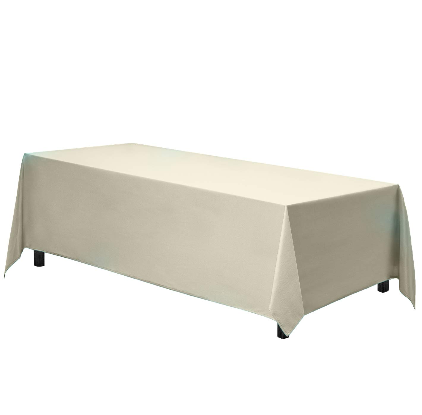 Gee Di Moda Rectangle Tablecloth - 90 x 156 Inch - Ivory Rectangular Table Cloth for 8 Foot Table in Washable Polyester - Great for Buffet Table, Parties, Holiday Dinner, Wedding & More