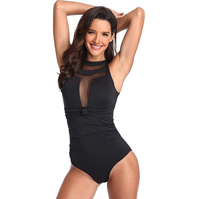 4befac10cff crazycatz@Womens Cap Sleeve One Piece Swimsuit High Neck Open Back Cut Out one  Piece