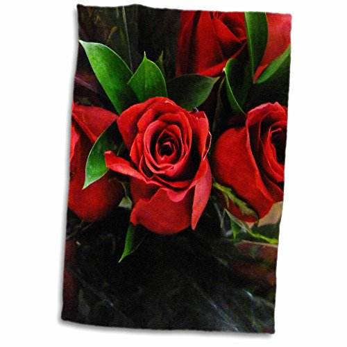 3D Rose Red Roses On Black TWL_37240_1 Towel 15