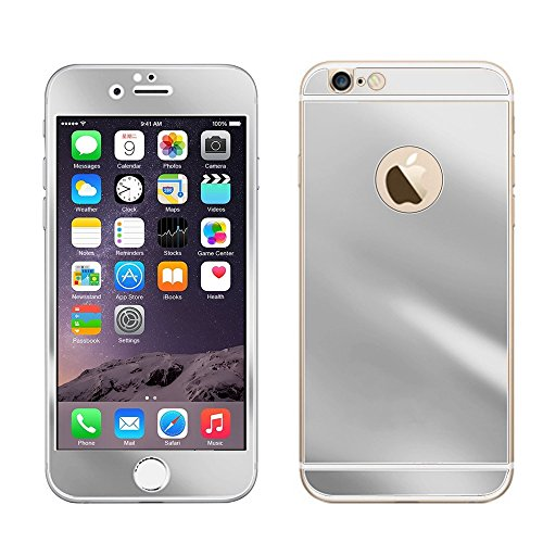Electroplating Mirror Effect Tempered Glass Screen Protector Guard Front   Back Full Body Cover Skin Premium Anti Scratch Bubble Free For Iphone 6 Plus 5 5  5 5 Inch  Silver