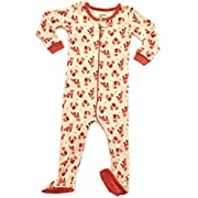 Leveret Baby Boys Girls Footed Sleeper Pajama 100% Cotton (Size 6M-5 Years) (6-12 Months, Fox)
