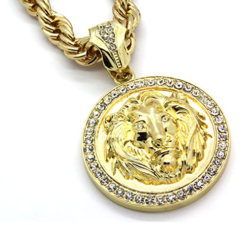 (Mens Gold Tone Lion Face Clear Eyes 30