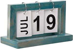Midress Desk Calendar, Vintage Style Perpetual Calendar DIY Calendar Crafts for Home Office School Desktop Decoration. (B)