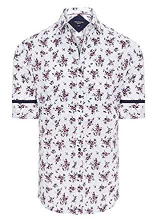 Tarocash Men's Blanc Slim Floral Print Shirt White Xs Cotton Slim Fit Long Sleeve Sizes XS-5XL for Going Out Smart Occasionwear