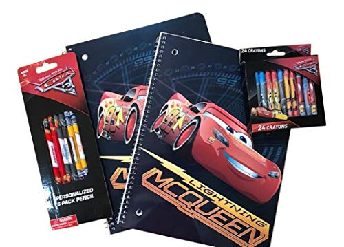 Cars Lightning McQueen Spiral School Notebook, Disney Pixar Cars Pencils, and 24 Pack Cars Crayons ()