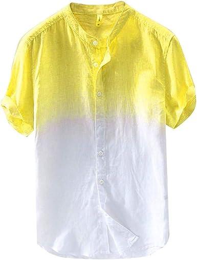 ZODOF Camisa de Hombre Cuello Fresco y Fino Transpirable para Hombres de Verano Que cuelga teñido Degradado Camisa de algodón Camisa de Hombre Manga Corta Camiseta para Hombre: Amazon.es: Ropa y accesorios