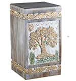 STAR INDIA CRAFT Urns for Human Ashes Adult, Rosewood Cremation Urns for Ashes, Funeral Urns, Burial Urns for Columbarium, Wooden Box Urns for Human Ashes - Large URNS Ashes(Golden on White)