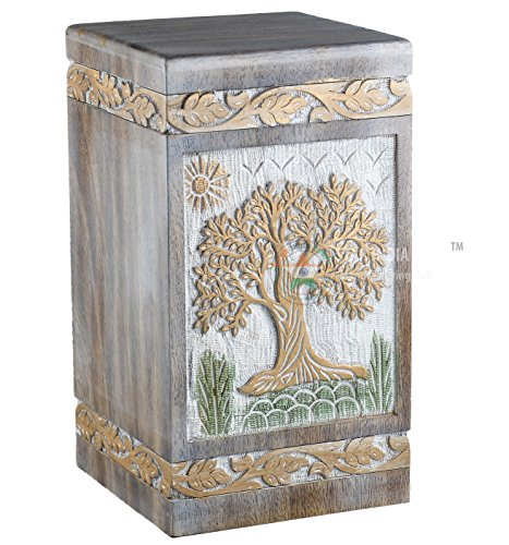Golden Urn - STAR INDIA CRAFT Urns for Human Ashes Adult, Rosewood Cremation Urns for Ashes, Funeral Urns, Burial Urns for Columbarium, Wooden Box Urns for Human Ashes - Large URNS Ashes(Golden on White)