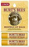 Burt's Bee 100% Natural Moisturizing Lip Balm, Beeswax, 2 Tubes in Blister Box